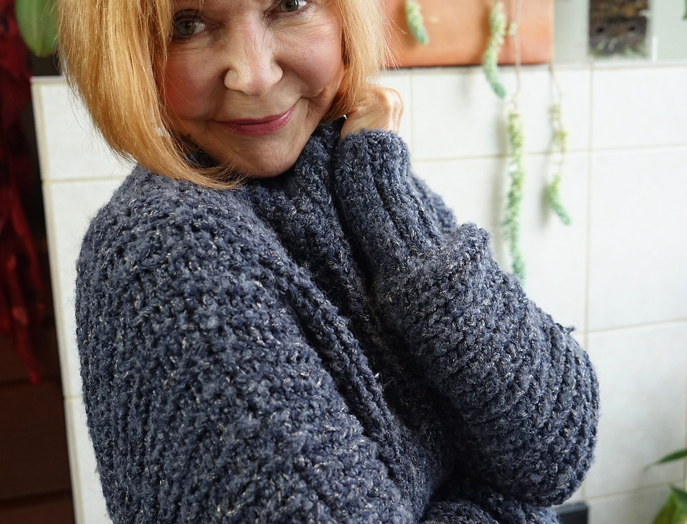 Cecile Benac Chunky Blue Denim Sweater