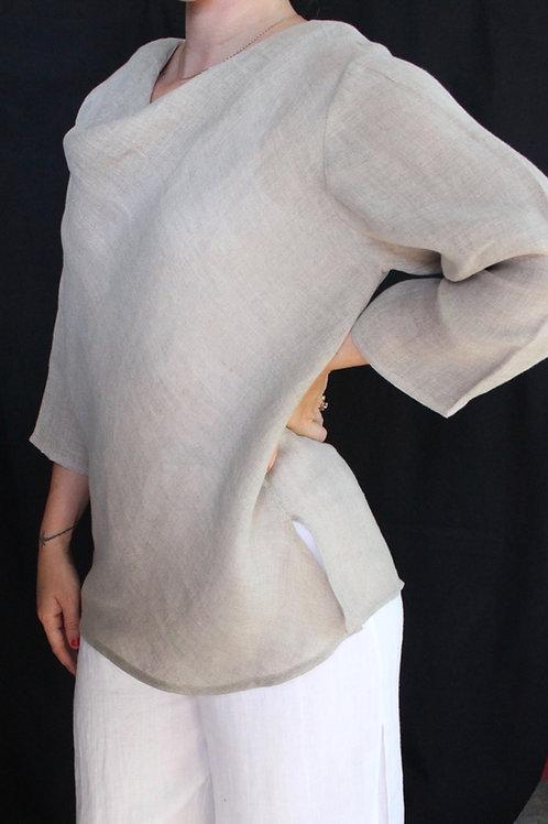 Linen Drape Neck Bias Top