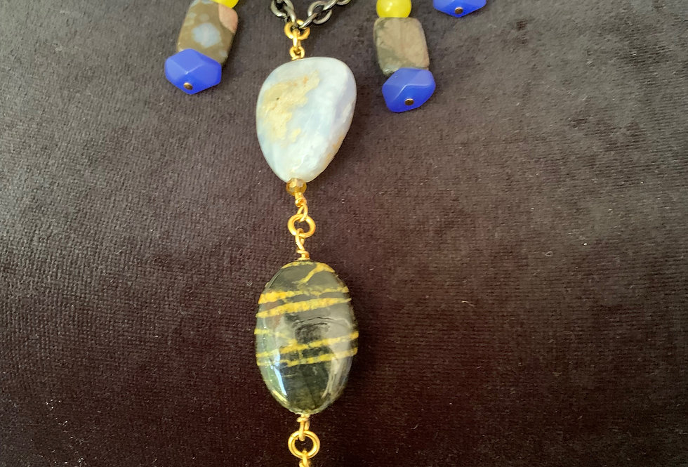 Blu Lace Agate, Yellow Jade, Tiger Agate Necklace