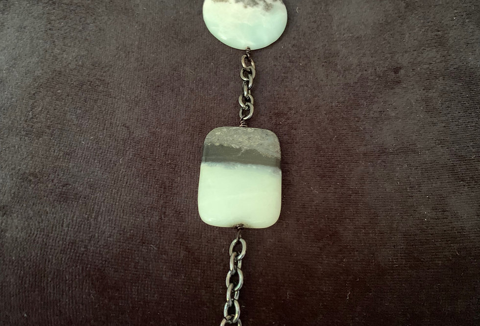 3 Drop Necklace with Amazonite Coin
