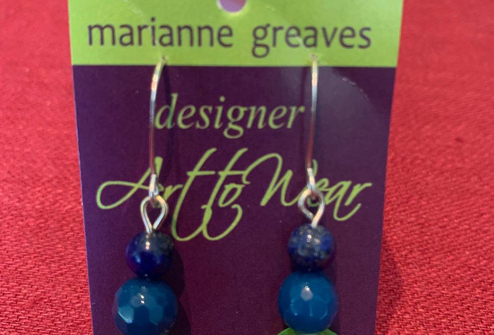 Green Blue Earrings with Sterling Silver Hooks