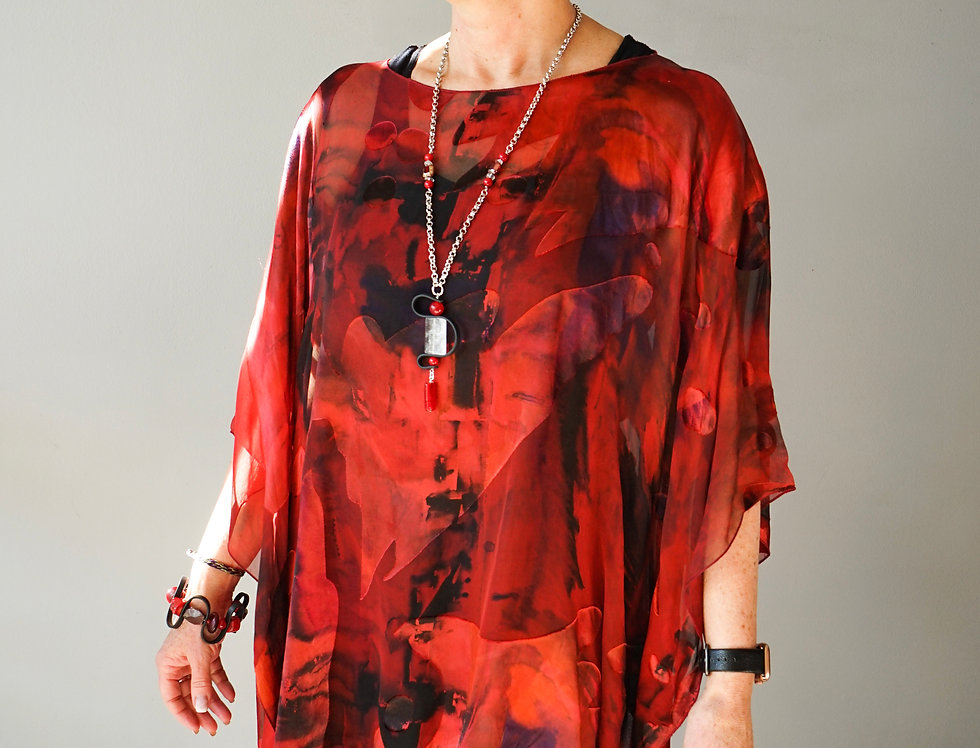 Hand Dyed Ruby Red Silk Tunic