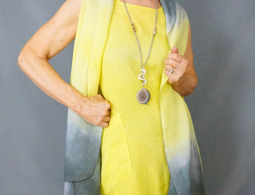 Hand Dyed double dye 100% linen Easy Fitting Vest