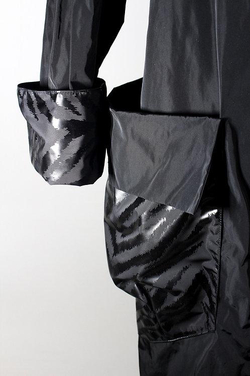 Black Lightweight Asymmetrical Raincoat