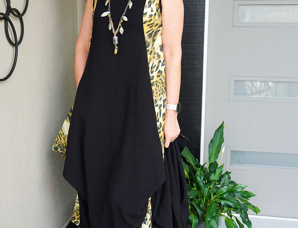Animal Print & Black Linen Funky Dress