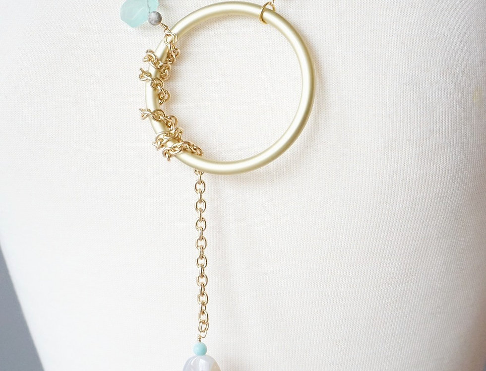 Gold & Agate Lariat Necklace