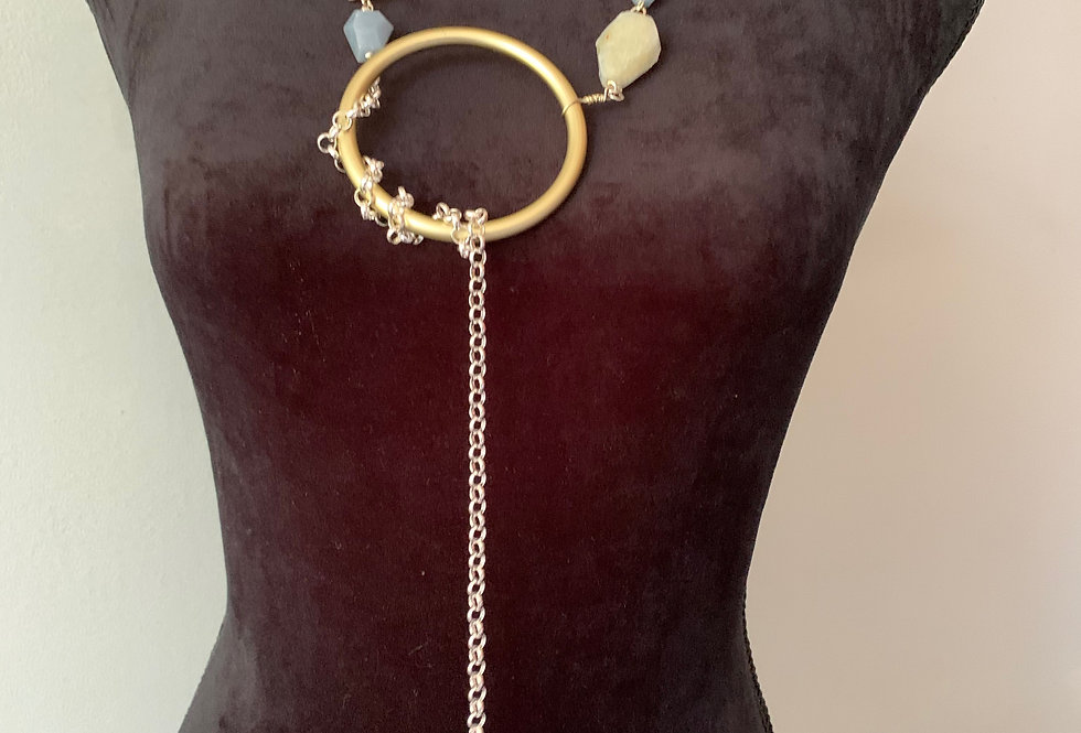 Gold & Silver Lariat with Blue Lace Agate Necklace