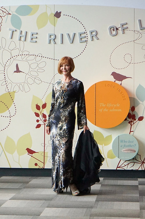 Long Reversible Silk blend bias dress