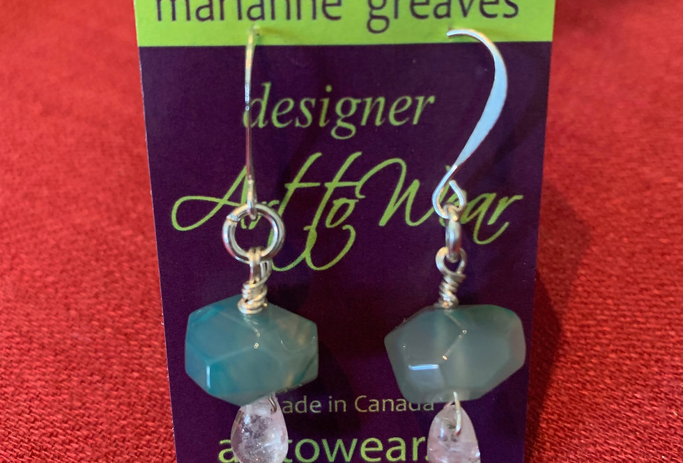 Faceted Fluorite and Glass Earrings