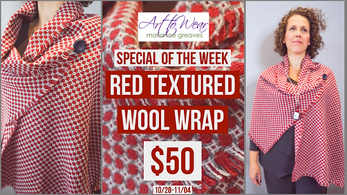 Red Textured Wool Wrap