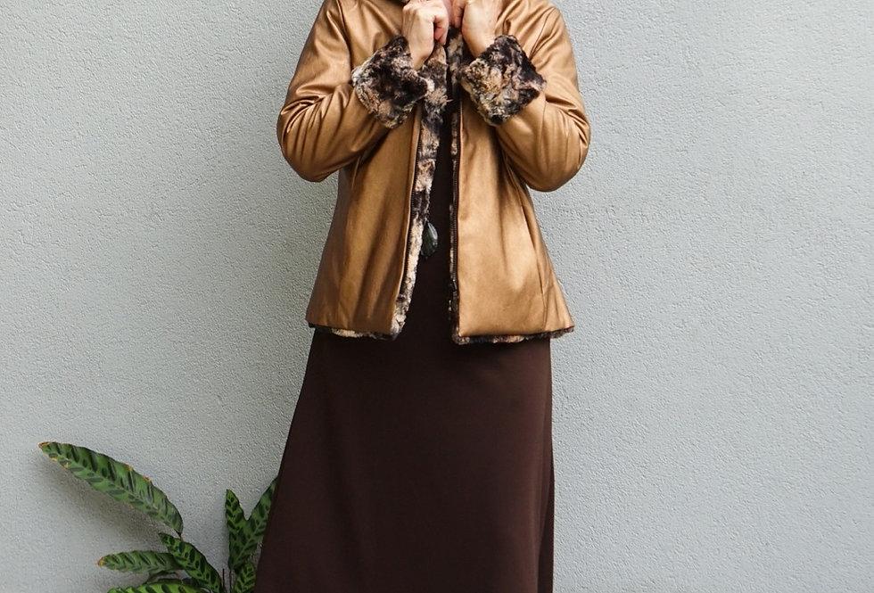 Reversible Faux Fur Jacket (Copper)