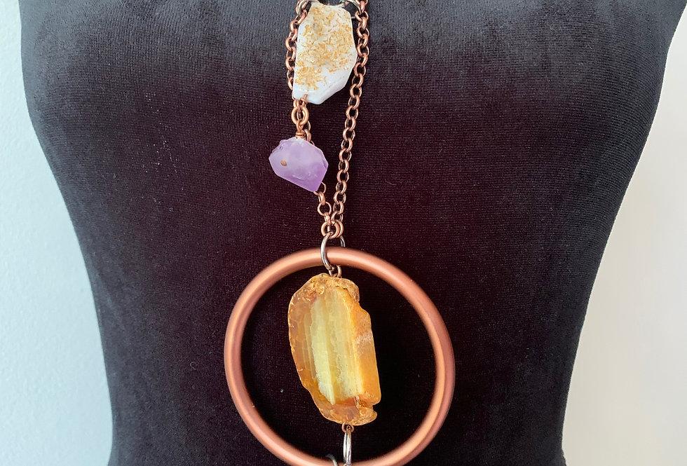 Rough Cut Agate, Amethyst, Blue Lace Agate, Copper Ring, Copper Chain Necklace