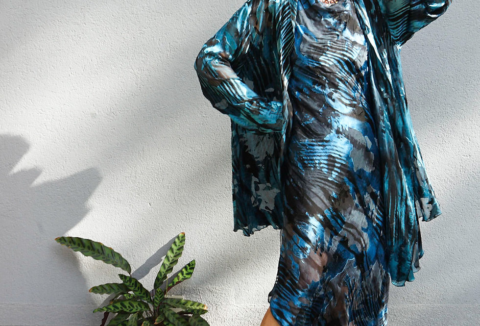 Blue/Black Devore Silk Easy Jacket