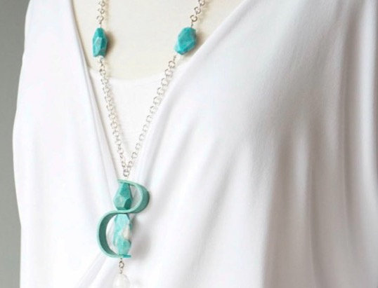 Turquoise & Silver Leather Swirl Necklace