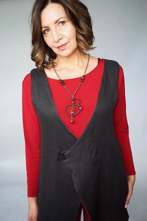 Asymmetrical Reversible Linen Vest