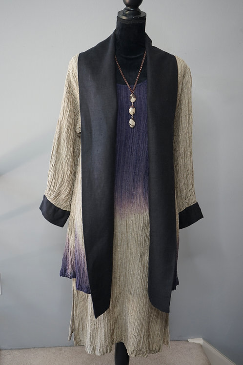 HAND DYED CRINKLE LINEN COAT