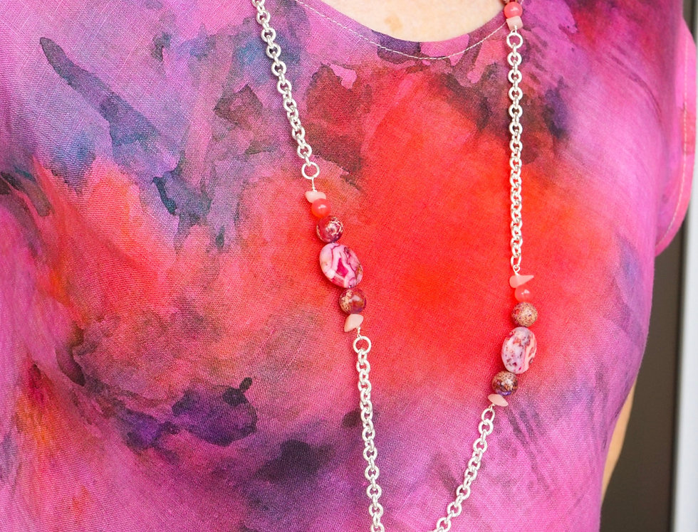Long Orchid Fuchsia Pink Necklace