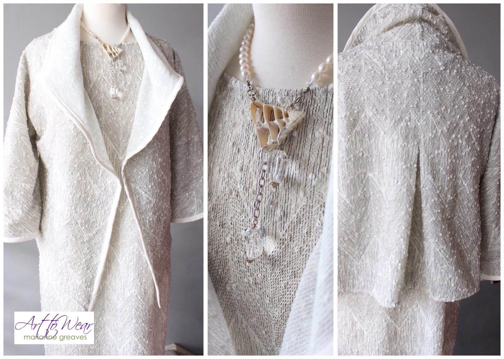 White Sequin Easy Jacket