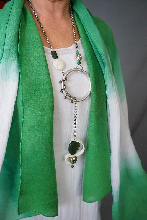 Lariat Necklace with green stones and white leather