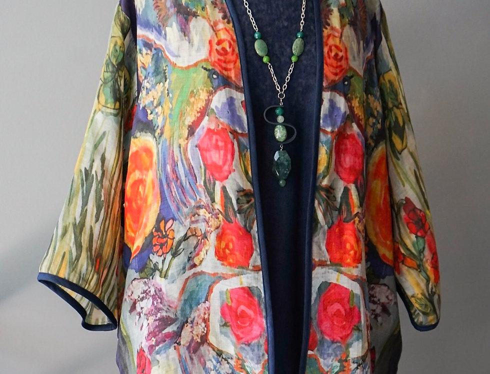 His Eye is on the Sparrow Kimono Coat (Navy)