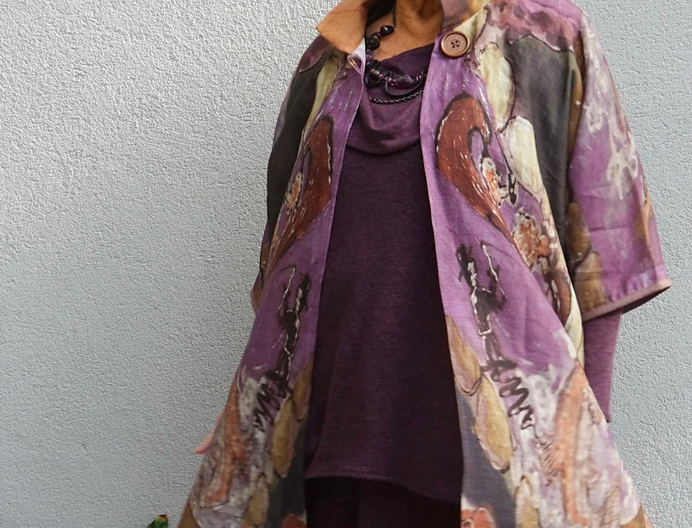 One of a Kind Linen Collar Coat