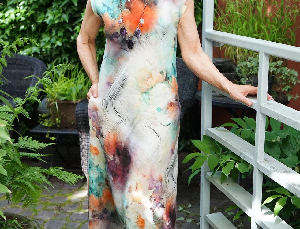 Painterly Peony Linen Bias Dress