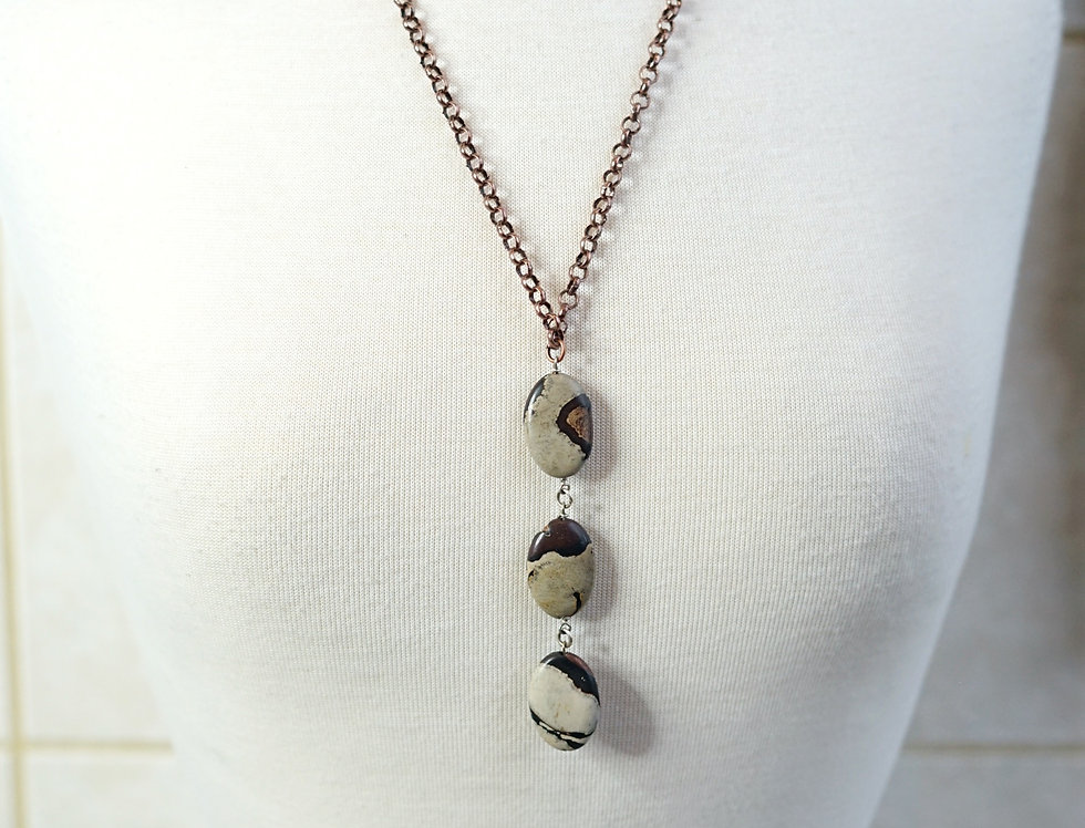 3 Stone Leopard Agate Necklace