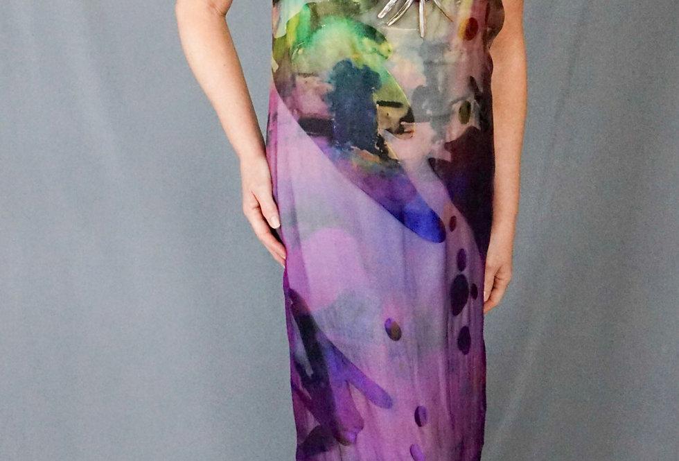 Hand Dyed Cap Sleeve Exclusive cut silk Column Dress