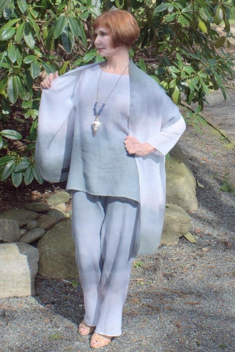 Slate White Pant, tunic,shawl