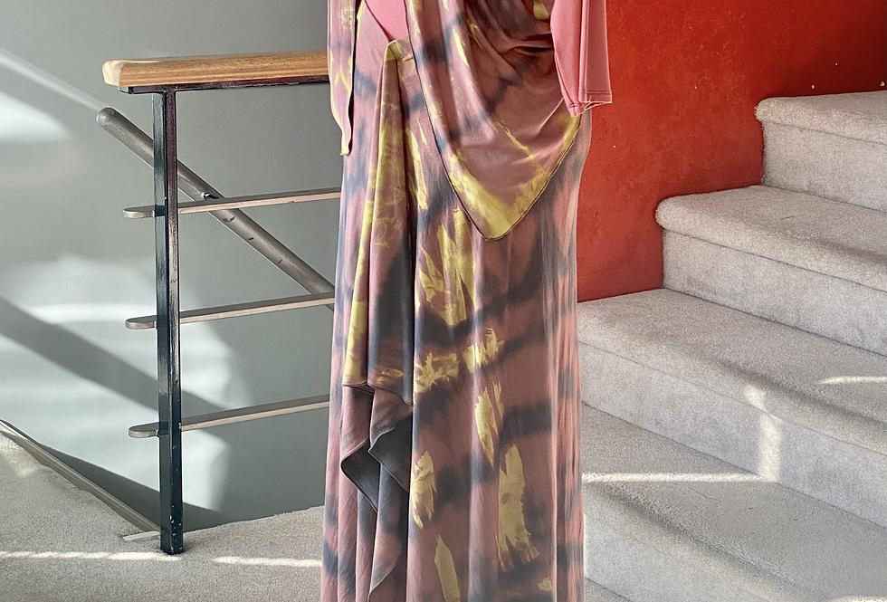 Long Asymmetrical Flounce Twist Dyed Skirt