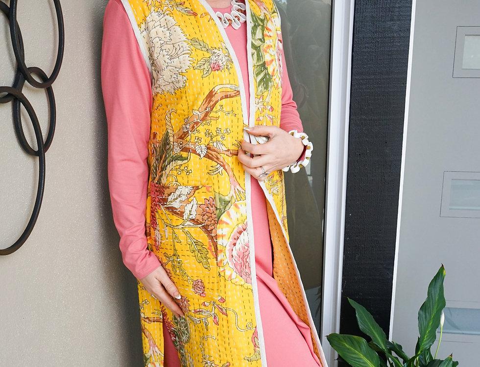 Long Reversible Gold Floral Kantha Vest