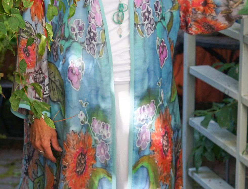 Sunflower Linen Kimono Coat (Teal)