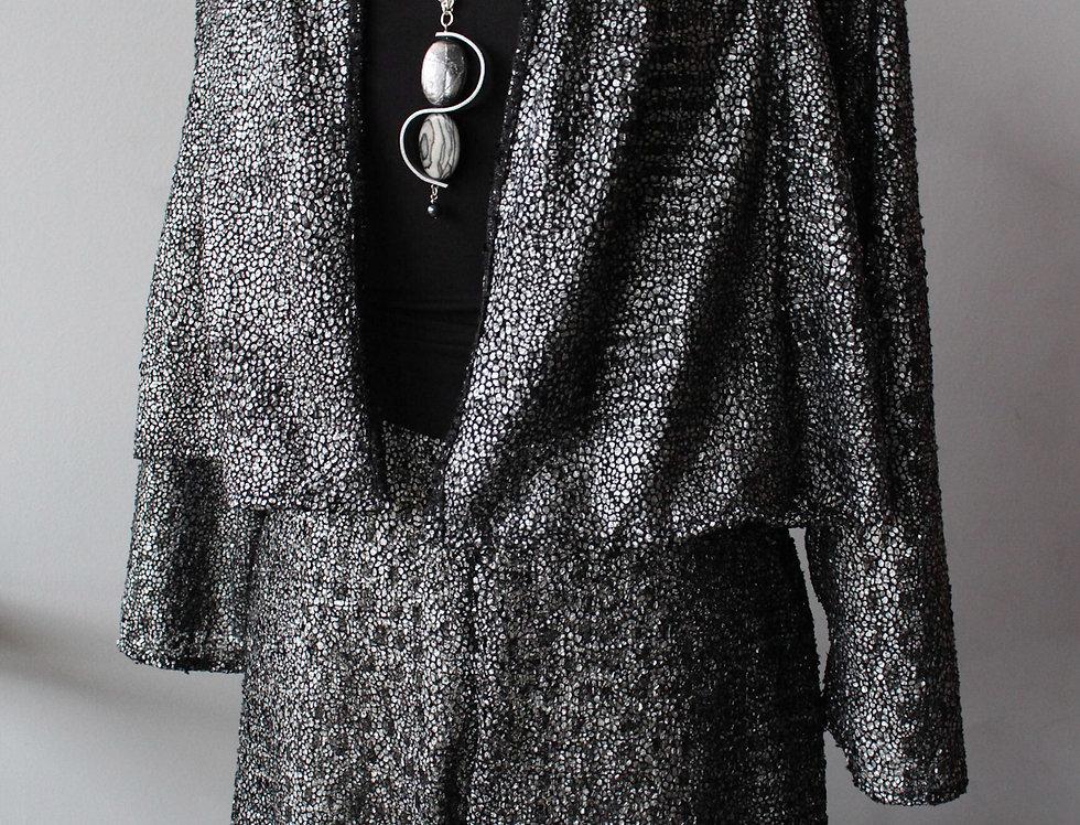 Little shorty silver sparkle knit jacket