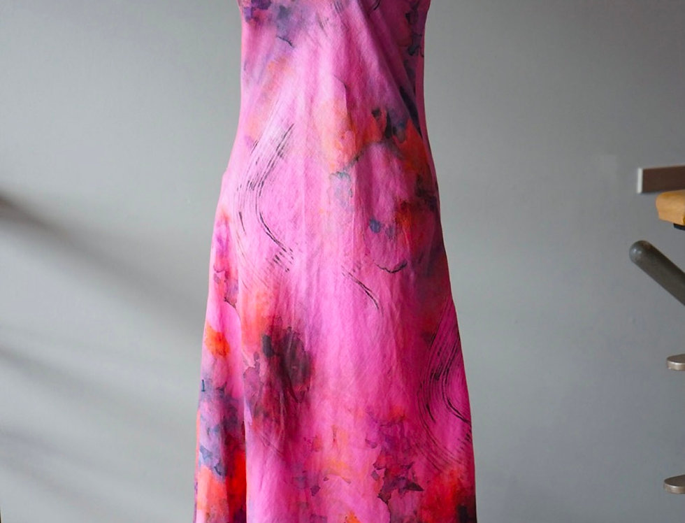 Hand Dyed Peony Pink Linen Bias Dress