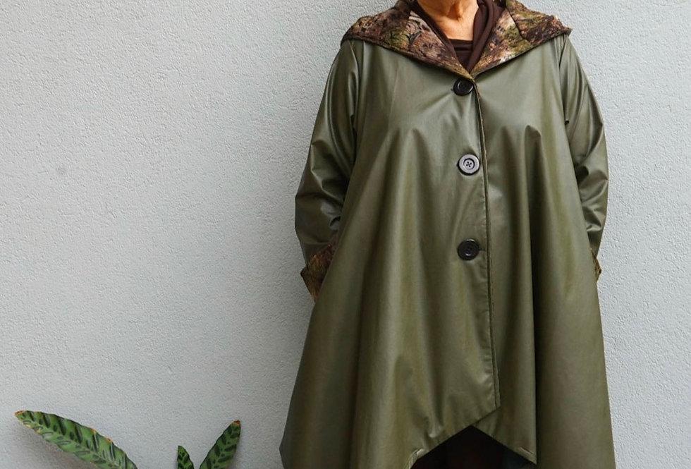 A-Line Olive Raincoat with Hood