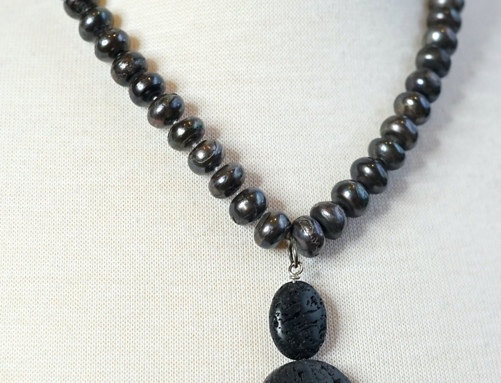 Fresh Water Pearl & Lava Necklace