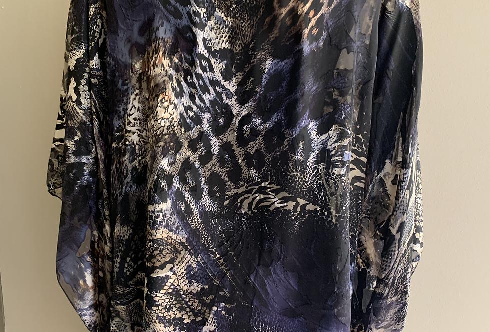 Animal print silk/ viscose loose O/S Tunic