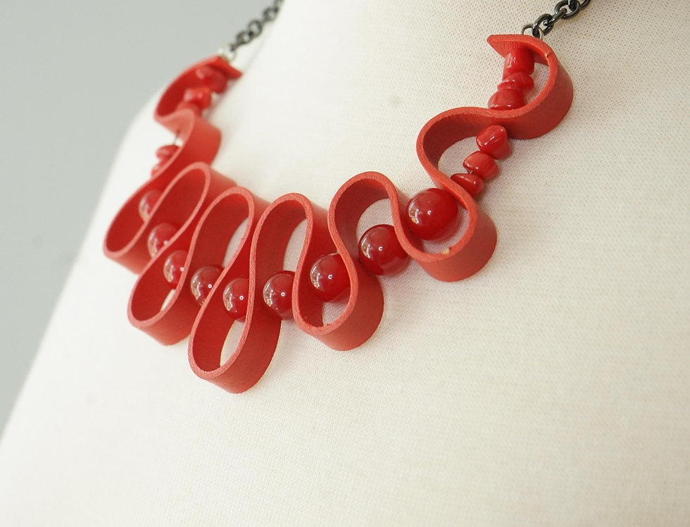 Red Leather Wave Necklace