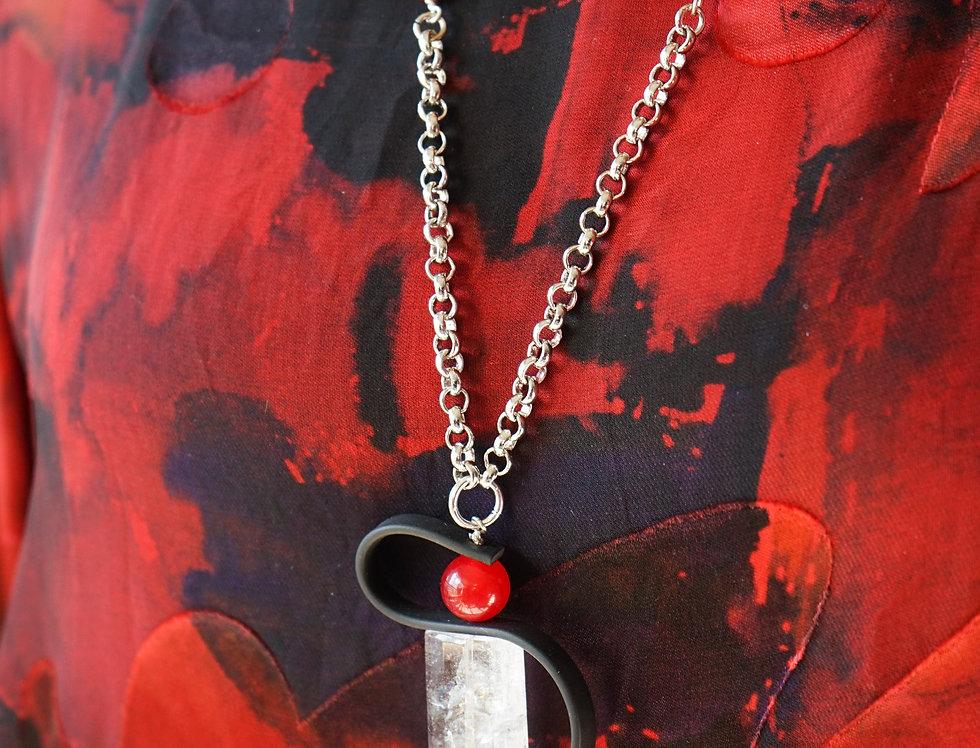 Crystal Quartz Red Rubber Pendant Necklace