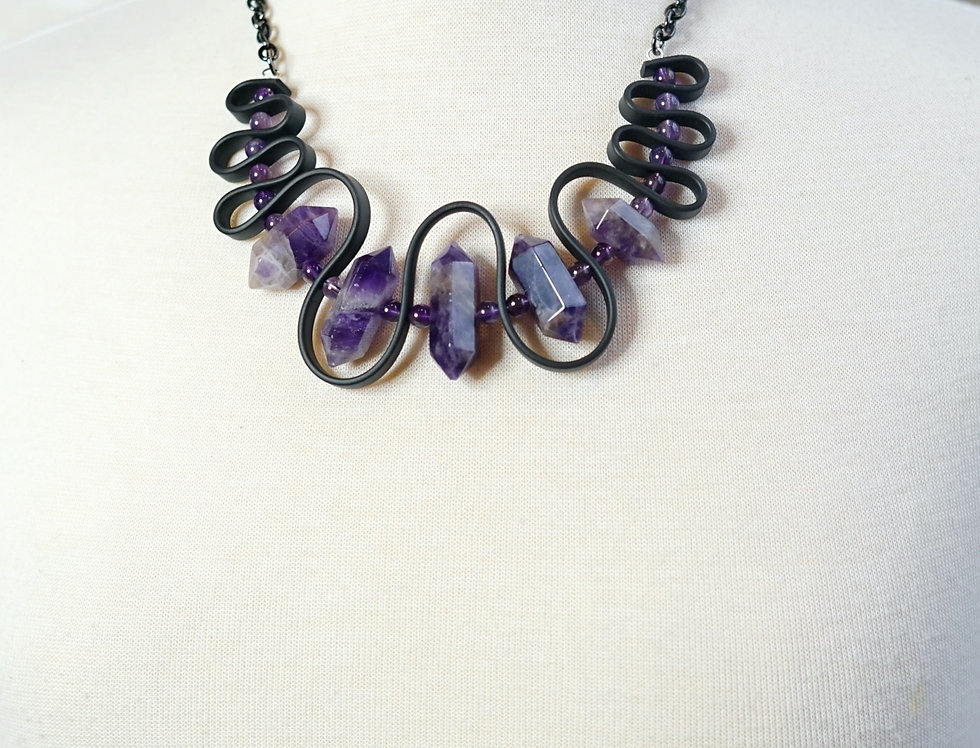 Amethyst Rubber Wave Necklace