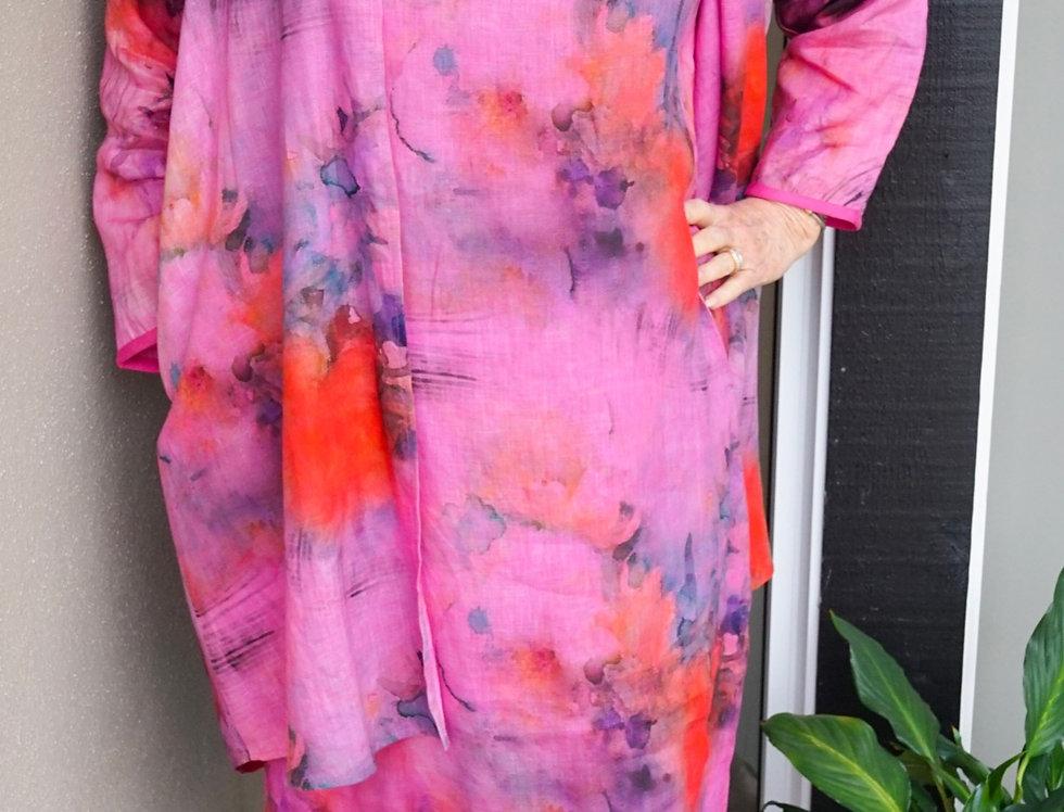 Hand Dyed Linen Print Dress