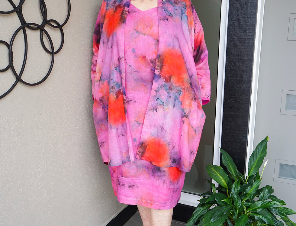Hand Dyed Peony Pink Linen Jacket
