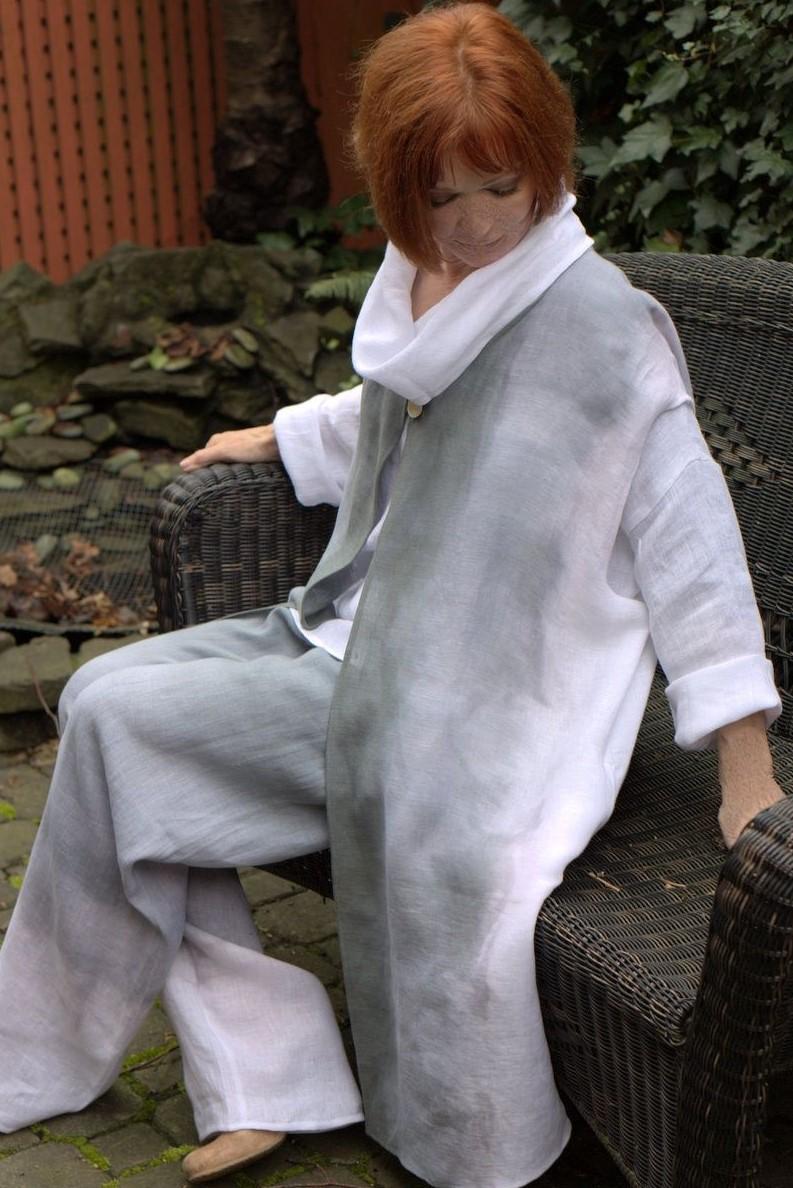 Slate linen long vestpant