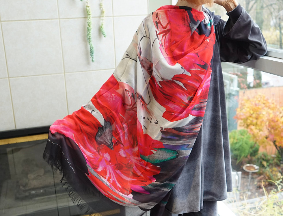 AMARYLLIS - STRENGTH AND BEAUTY Luxury Silk Scarf