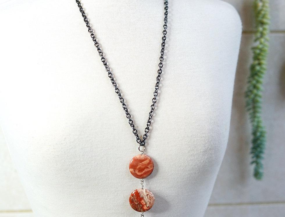 Fire Agate 3 Stone Pendant Necklace