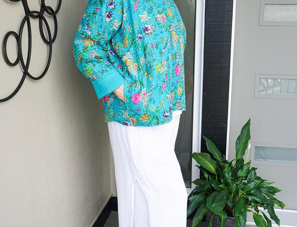 Turquoise Kantha Short Coat