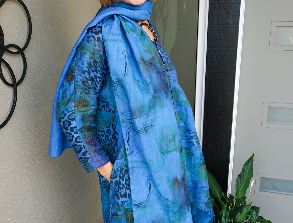 Hand Dyed Royal Blue Linen Tunic