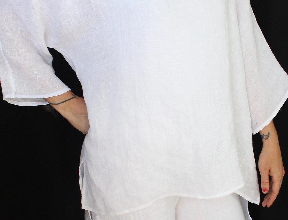 U Neck Linen Shirt