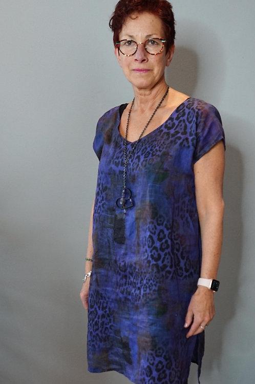 Hand Dyed Animal Print Linen Tunic