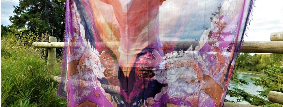 Crazy River of Life Luxury Silk Scarf